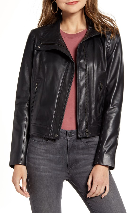 4d40553bde3 Women Standing Collar Leather Jacket - ShopStyle