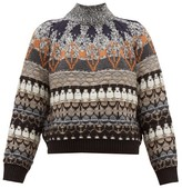 Stella McCartney Fair Isle-knit Wool-blend Sweater - Womens - Grey Multi