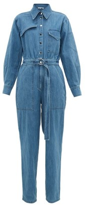 Tibi Belted Denim Jumpsuit - Denim