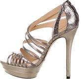 Alexandre Birman Embossed Metallic Platform Sandals