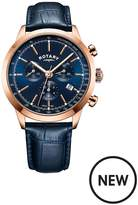 Rotary Rotary Rose Gold And Cambridge Blue Chronograph Dial With Blue Leather Strap Mens Watch