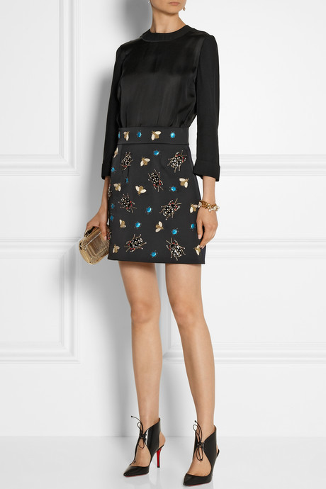 Victoria Beckham Victoria, Embellished satin mini dress