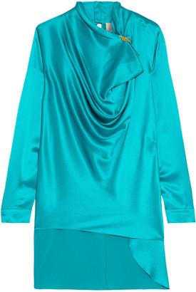 Roksanda Limela Button-embellished Draped Silk-satin Blouse