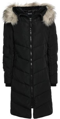 DKNY Faux Fur-trimmed Quilted Shell Down Coat