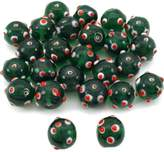 FindingKing Green Round Dot Glass Beads Lampwork Beading Approx 25