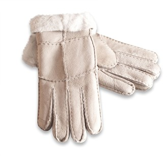Nordvek Womens Merino Sheepskin Gloves - Soft Suede Turnover Cuff # 321-100 [Beige] [Large - 8]