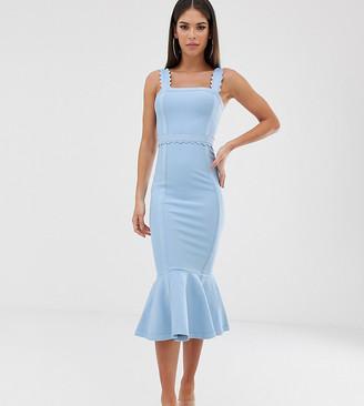 Asos DESIGN Tall Scallop detail bandage pencil midi dress with pep hem