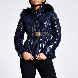 River Island Womens Navy quilted faux fur hood fitted jacket