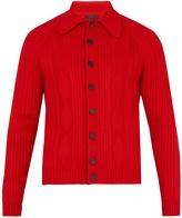 Prada Point-collar ribbed-wool cardigan