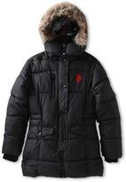 U.S. Polo Assn. Kids - Bubble Parka with Faux Fur Trimmed Hood (Big Kids) (Black) - Apparel