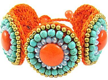 JCPenney Pannee Simulated Turquoise & Orange Stone Rope Bracelet