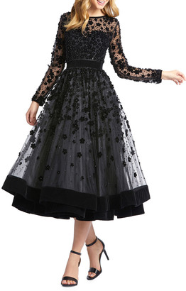 Mac Duggal Long-Sleeve Tea-Length Floral Applique Cocktail Dress
