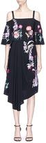 Temperley London 'Woodland' floral embroidered cold shoulder silk dress