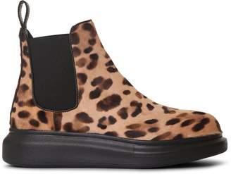 Alexander McQueen Leopard hybrid chelsea boots