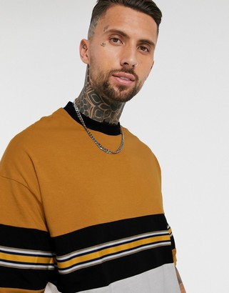 ASOS DESIGN organic oversized T-shirt with contrast taping in yellow