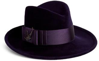 Philip Treacy Sparrow-Embellished Velour Fedora