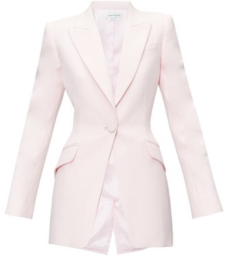 Alexander McQueen Single-breasted Wool-blend Leaf-crepe Jacket - Womens - Light Pink