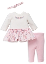 Little Me Girls' Blossoms Dress, Leggings & Headband Set - Baby