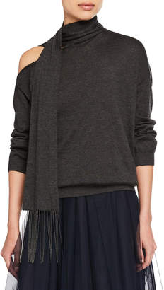 Brunello Cucinelli Cashmere One-Shoulder Scarf-Neck Sweater