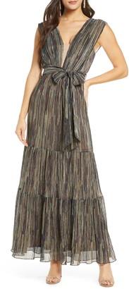 Harlyn Metallic Tie Waist Gown