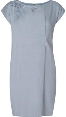 Gisy Vietnam Mandala Embroidered Linen Dress Ice Blue