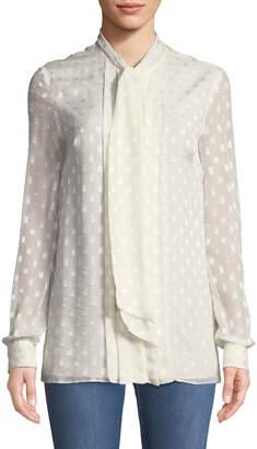 St. John Rectangle-Devore Tie-Neck Long-Sleeve Silk Blouse w/ Pleats