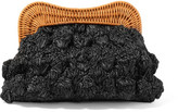 Kayu Monaco Rattan-trimmed Straw Clutch - Black
