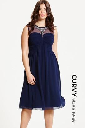 Little Mistress Curvy Navy Embellished and Drape Front Midi Dress