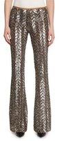 Michael Kors Metallic Herringbone Paillette Pants, Slate/Suntan