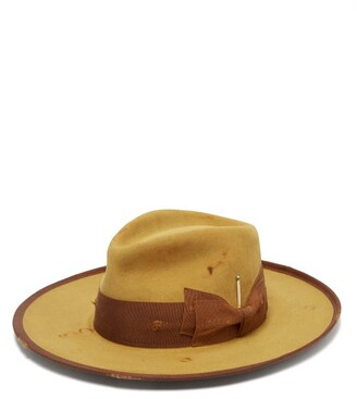 Nick Fouquet Clematis Distressed Felt Fedora Hat - Mens - Gold