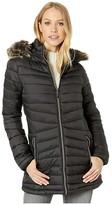 YMI Jeanswear Snobbish Snobbish Long Polyfill Puffer Jacket with Faux Fur Trim Hood (Black) Women's Clothing