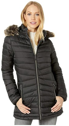 YMI Jeanswear Snobbish Long Polyfill Puffer Jacket with Faux Fur Trim Hood (Black) Women's Clothing