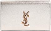 Saint Laurent Serpent Monogram Metallic Leather Clutch