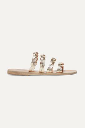 Ancient Greek Sandals Kynthia Braided Metallic Leather Sandals - Gold