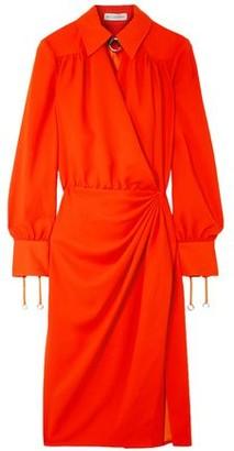 Altuzarra Kat Leather-trimmed Draped Crepe Midi Dress