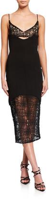 Misha Collection Irina Sheer Lace & Crepe Slip Dress
