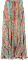 Printed silk-chiffon maxi skirt