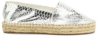 Jack Rogers Palmer Metallic Crocodile-Embossed Leather Espadrilles