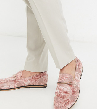 ASOS DESIGN Wide Fit loafers in pink burnout with floral design with snaffle