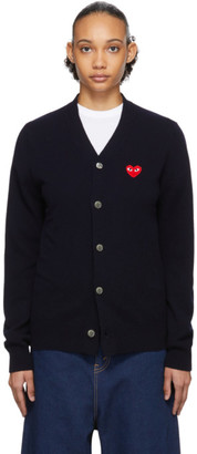Comme des Garcons Navy Mens Fit Heart Patch Cardigan