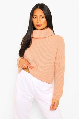 boohoo Petite Chunky Knit Roll Neck Cropped Jumper