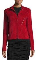 The Row Tripton Stretch-Suede Zip-Front Jacket, Crimson