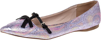 Miu Miu Purple Brocade Lurex And Satin Trim Giada Bow Pointed Toe Ballet Flats Size 40