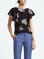 Banana Republic Flutter Sleeve Floral Vee Back Top