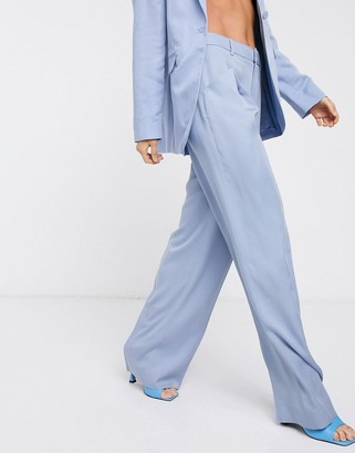 And other stories & front-pleat wide leg pants in pastel blue