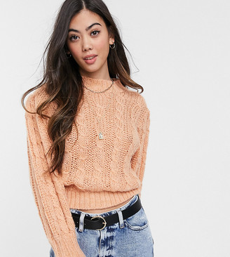Asos DESIGN Petite cable jumper in lofty knit