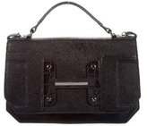 Halston Embossed Leather-Accented Satchel