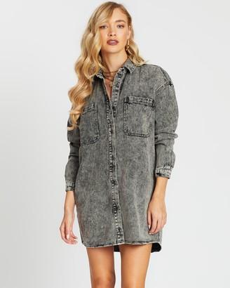 Missguided Double Pocket Oversized Denim Dress
