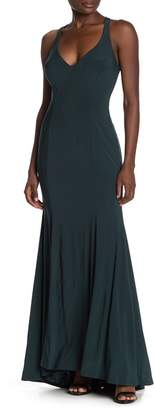 Jump Strappy Back Sleeveless Jersey Trumpet Gown