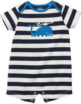 Osh Kosh Short-Sleeve Whale Striped Romper